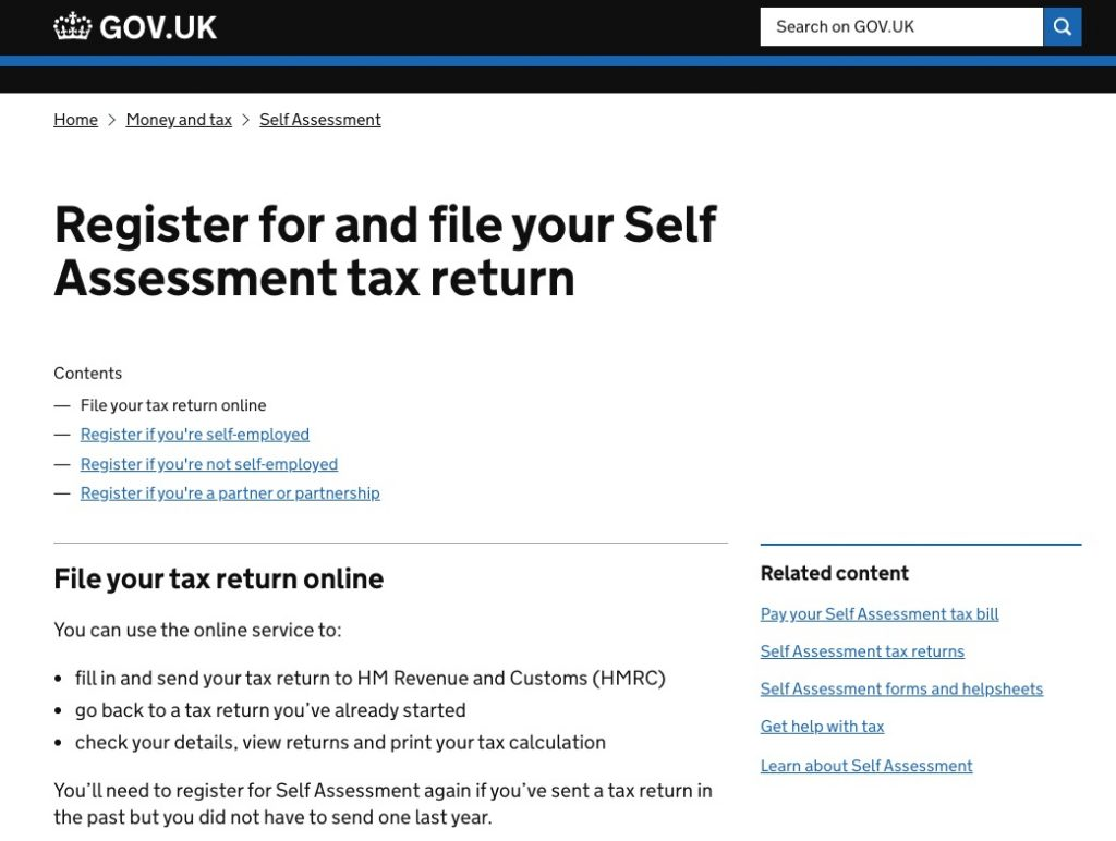 register for self assessment tax return gov.uk screen northern accountants